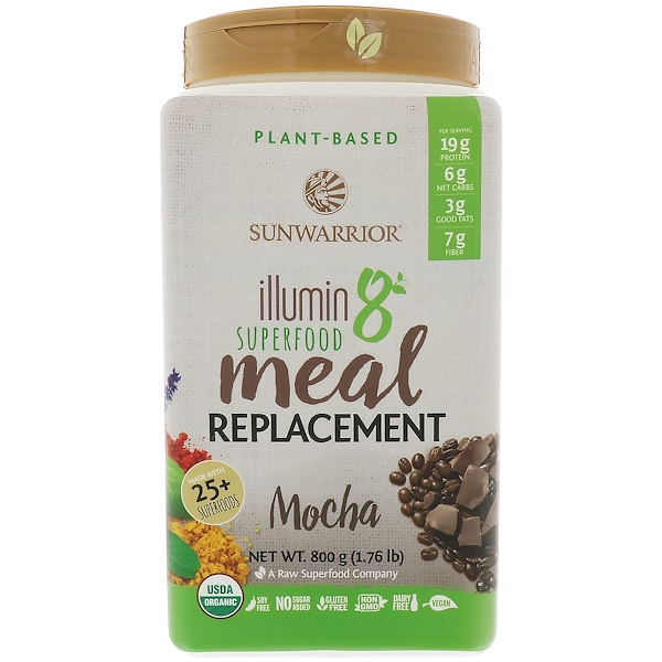 Sunwarrior, Illumin 8, Plant-Based Organic Superfood Meal Replacement, Mocha, 800 g (1.76 lbs)