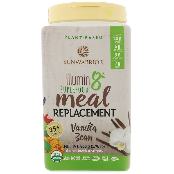 Sunwarrior, Illumin8, Plant-Based Organic Superfood Meal Replacement, Vanilla Bean, 1.76 lb (800 g) (Discontinued Item)