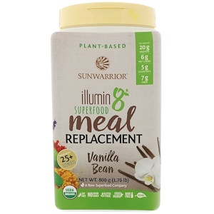 Сунвориор, Illumin8, Plant-Based Organic Superfood Meal Replacement, Vanilla Bean, 1.76 lb (800 g) отзывы покупателей