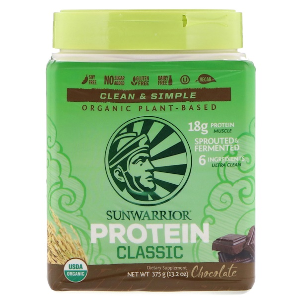 Sunwarrior, Classic Protein, Organic Plant-Based, Chocolate, 13.2 oz (375 g) (Discontinued Item)
