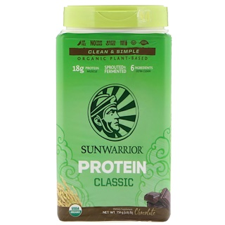 Sunwarrior, Classic Protein, Organic Plant-Based, Chocolate, 1.65 lb (750 g)