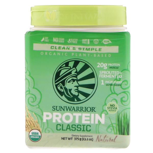 Sunwarrior, Classic Protein, Organic Plant-Based, Natural, 13.2 oz (375 g) (Discontinued Item)