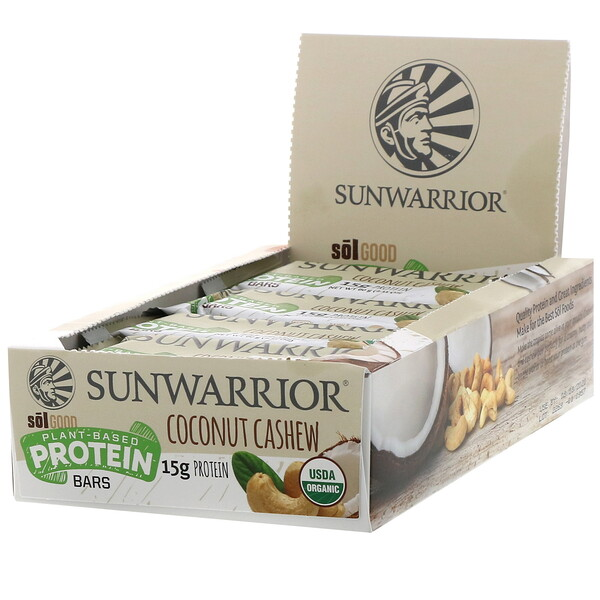 Sunwarrior, Sol Good, Plant-Based Protein Bars, Coconut Cashew, 12 Bars, 2.11 oz (60 g) Each