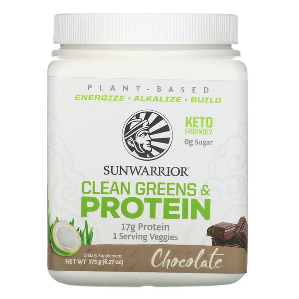 Sunwarrior, Clean Greens and Protein, Chocolate,  6.17 oz (175 g)