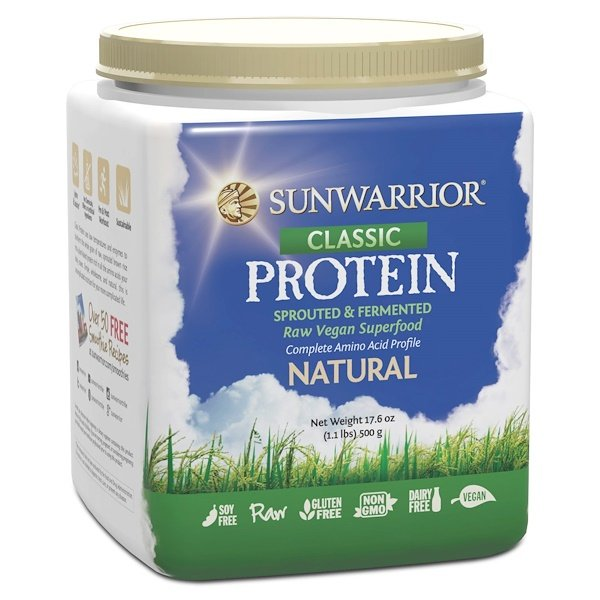 Sunwarrior, Classic Protein, Sprouted & Fermented Raw Vegan Superfood, Natural, 17.6 oz (500 g) (Discontinued Item)