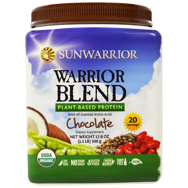 Sunwarrior, Warrior Blend, Organic Plant-Based Protein, Chocolate, 17.6 oz (500 g) (Discontinued Item)