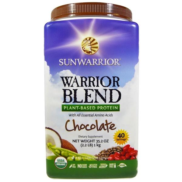 Sunwarrior, Warrior Blend, Organic Plant-Based Protein, Chocolate, 35.2 oz (1 kg) (Discontinued Item)