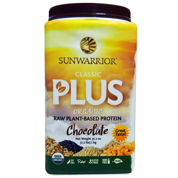 Sunwarrior, Classic Plus, Organic Raw Plant-Based Protein, Chocolate, 35.2 oz (1 kg) (Discontinued Item)