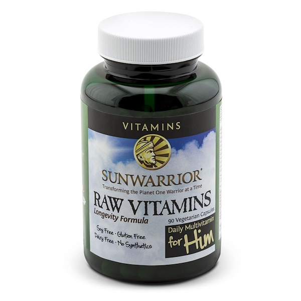 Sunwarrior, Raw Vitamins, Daily Multivitamin for Him, 90 Veggie Caps (Discontinued Item)