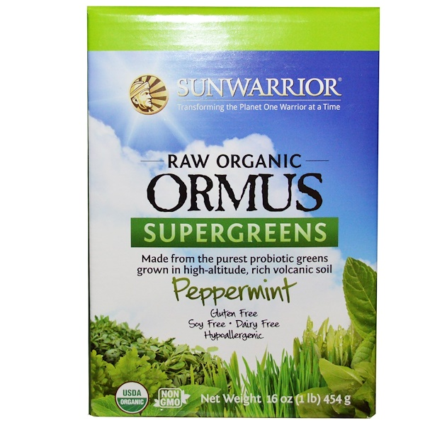 Sunwarrior, Raw Organic Ormus Supergreens, Peppermint, 16 oz (454 g) (Discontinued Item)