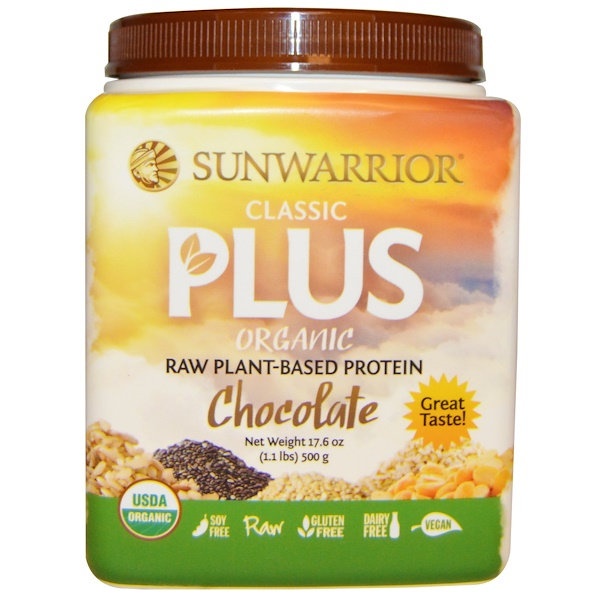 Sunwarrior, Organic Classic Plus, Chocolate, 1.1 lbs (500 g) (Discontinued Item)