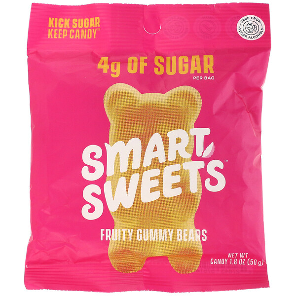 Fruity, Gummy Bears,  Raspberry, Apple, Lemon, Peach, 1.8 oz (50 g)