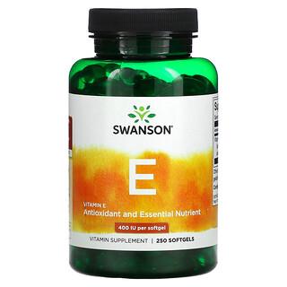 Swanson, Vitamin E, 400 IU, 250 Softgels