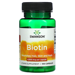 Swanson, Biotin, 5,000 mcg, 100 Capsules