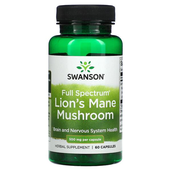 Full Spectrum Lion's Mane Mushroom, 500 mg, 60 Capsules