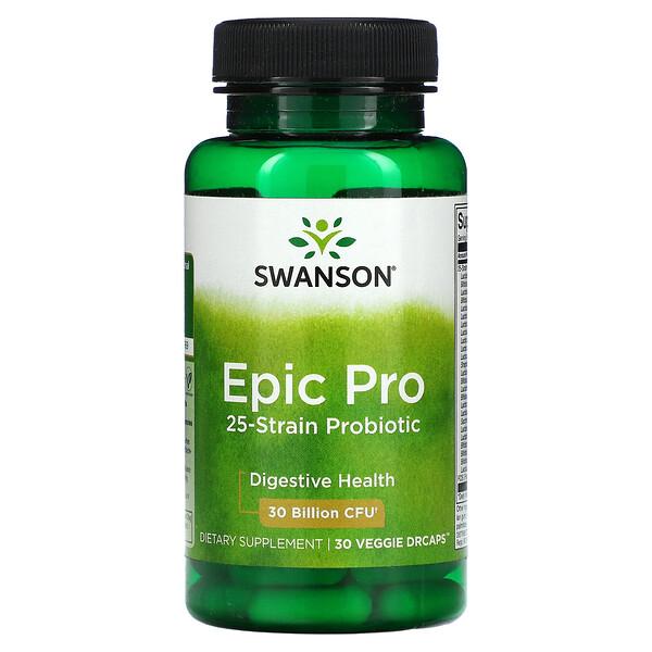 Swanson, Epic Pro 25-Strain Probiotic, Digestive, 30 Billion CFU, 30 Veggie DrCaps
