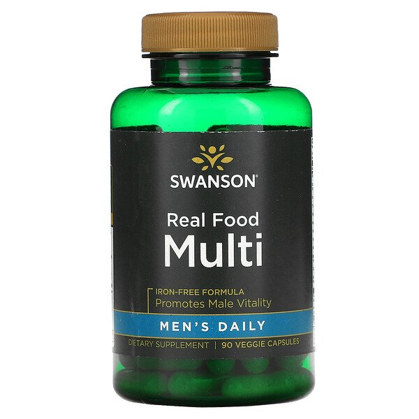 Swanson, Men's Daily, Real Food Multi, Iron-Free, 90 Veggie Capsules