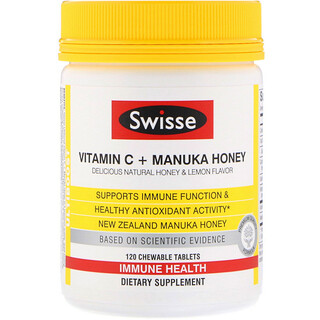 Swisse, Ultiboost, Vitamin C + Manuka Honey, Delicious Natural Honey & Lemon Flavor, 120 Chewable Tablets