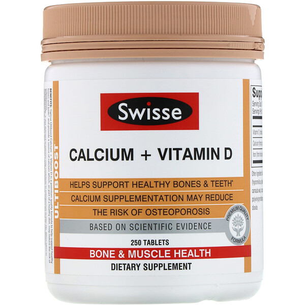Swisse, Ultiboost, Calcium + Vitamin D, 250 Tablets
