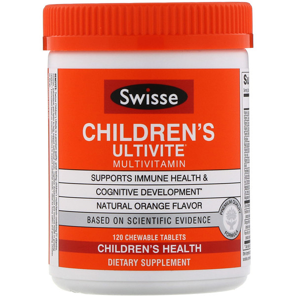 Swisse, Children's Ultivite Multivitamin, Natural Orange Flavor, 120 Chewable Tablets