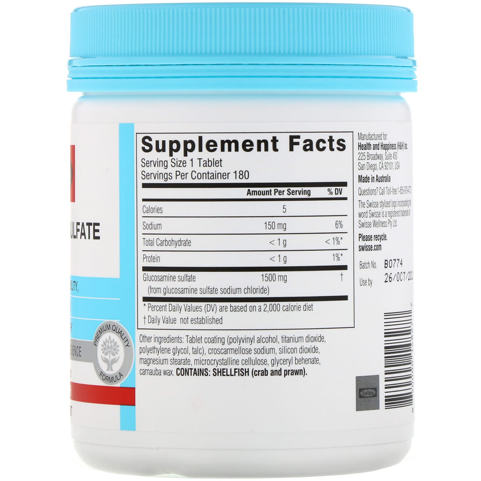 Swisse, Ultiboost, Glucosamine Sulfate, 1,500 Mg, 180