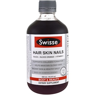 Swisse, Ultiboost, Hair Skin Nails (Silica + Blood Orange + Vitamin C), 16.9 fl oz (500 ml)