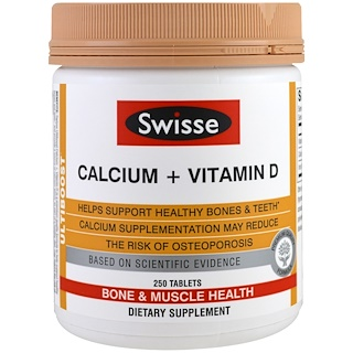 Swisse, Calcio + Vitamina D , 250 Tabletas
