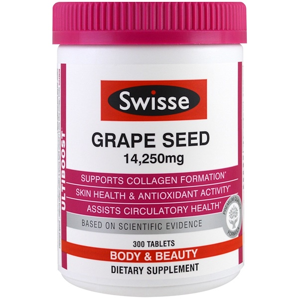 Swisse, Ultiboost, Grape Seed, Body & Beauty, 14,250 mg, 300 Tablets