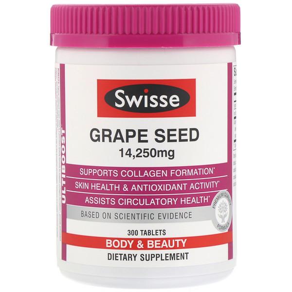 "Swisse, Ultiboost, זרעי ענבים, גוף ויופי, 14,250 מ""ג, 300 טבליות"