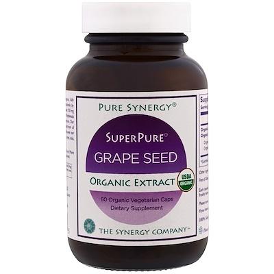 Pure Synergy, органический ультрачистый экстракт виноградных косточек, 60 органических капсул в растительной оболочке