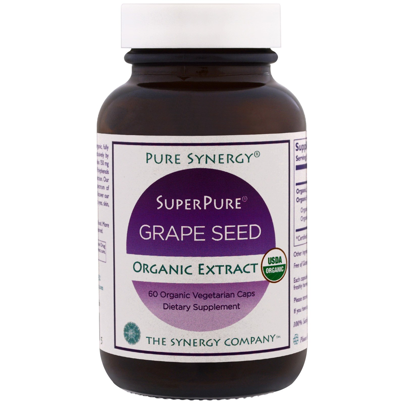 The Synergy Company, Pure Synergy, органический ультрачистый экстракт виноградных косточек, 60 органических капсул в растительной оболочке