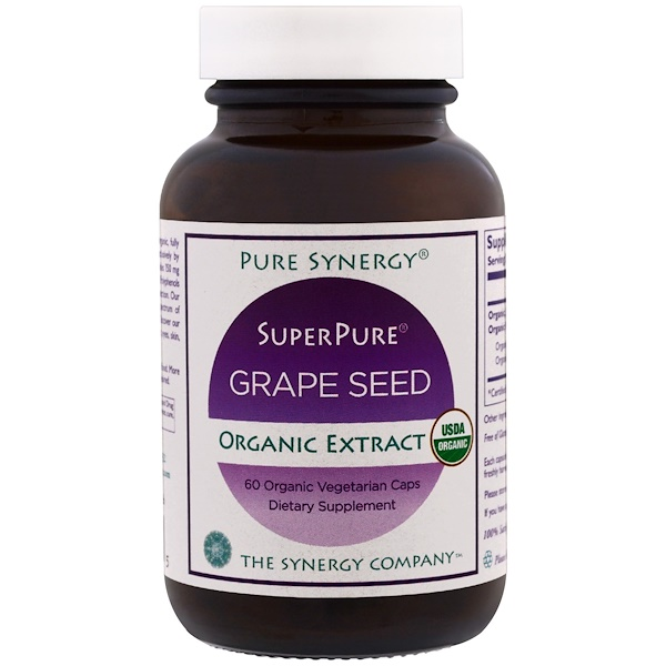 Pure Synergy, Organic Super Pure Grape Seed Organic Extract, 60 Organic Vegetarian Caps