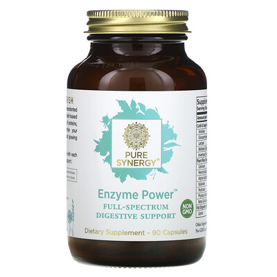 Pure Synergy Enzyme Power, пищеварительная поддержка полного спектра, 90 капсул