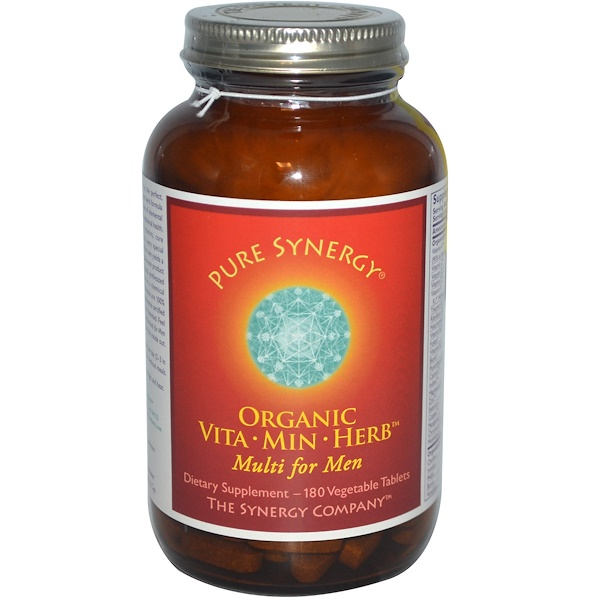 The Synergy Company, Pure Synergy, Organic Vita·Min·Herb Multi for Men, 180 Veggie Tabs (Discontinued Item)