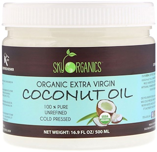 Sky Organics, Organic Extra Virgin Coconut Oil, 100% Pure Unrefined, Cold Pressed, 16.9 fl oz (500 ml)
