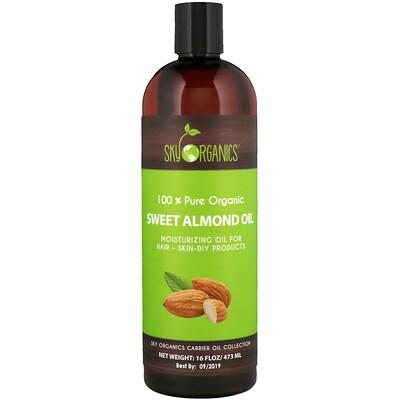 Sky Organics Sweet Almond Oil, 100% Pure Organic, 16 fl oz (473 ml)  - купить со скидкой