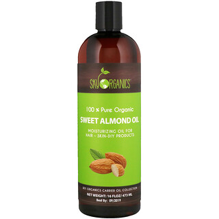 Sky Organics, Sweet Almond Oil, 100% Pure Organic, 16 fl oz (473 ml)