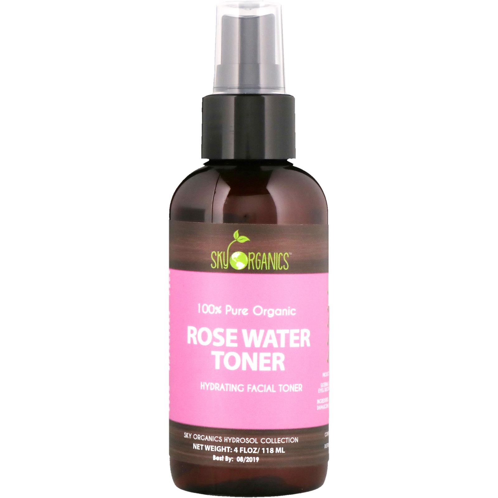 Sky Organics 100 Pure Organic Rose Water Toner 4 Fl Oz 118 Ml Humphrey Skin Care Activated Charcoal Bodywash 500ml