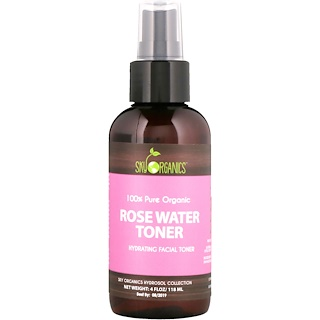Sky Organics, 100% Pure Organic, Rose Water Toner, 4 fl oz (118 ml)