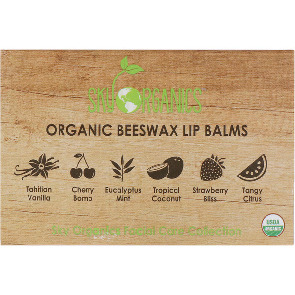 Sky Organics, Organic Beeswax Lip Balms Set, 6 Pack, .15 oz (4.25 g) Each (Discontinued Item)