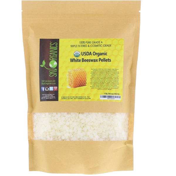 Organic, White Beeswax Pellets , 16 oz (453 g)