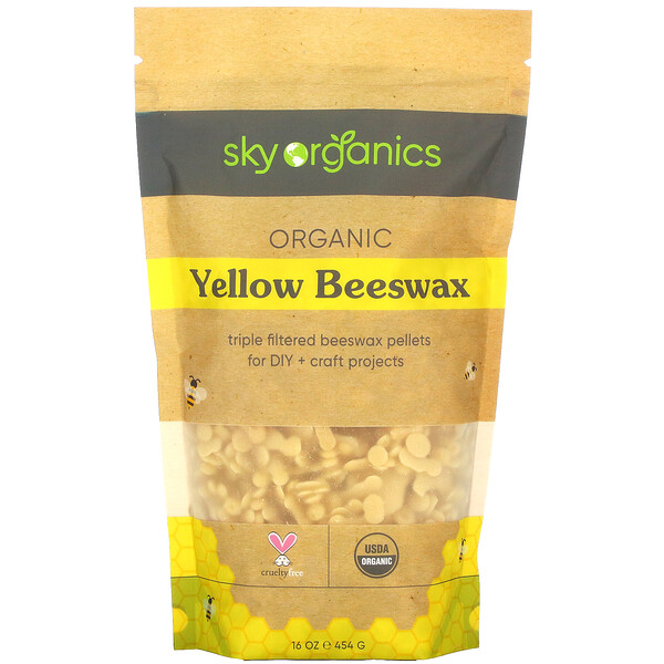 Organic Yellow Beeswax, 16 oz (454 g)