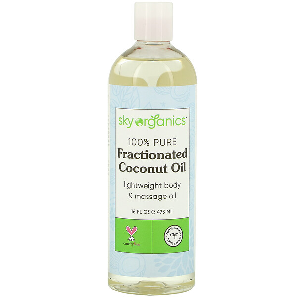 Sky Organics, 100% Pure Fractionated Coconut Oil, 16 fl oz (473 ml)