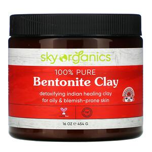 Sky Organics, 100% Pure Bentonite Clay, 16 oz (454 g) отзывы покупателей