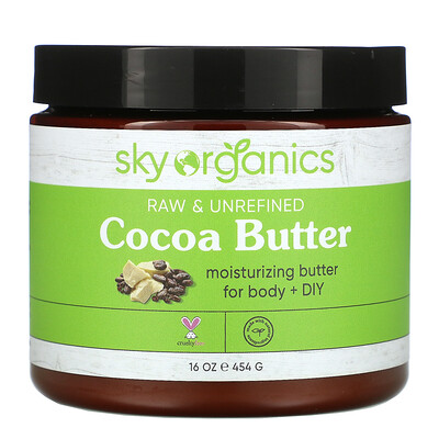 Купить Sky Organics Cocoa Butter, Raw & Unrefined, 16 oz (454 g)