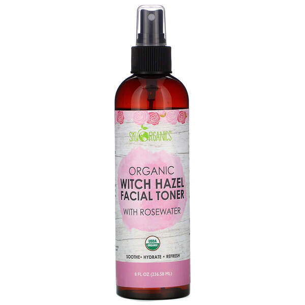 Sky Organics, Organic Witch Hazel Facial Toner with Rosewater, 8 fl oz (236.58 ml)