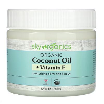 Купить Sky Organics Organic Coconut Oil + Vitamin E, 16.9 fl oz (500 ml)