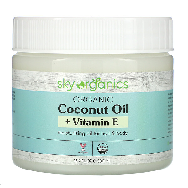 Sky Organics, Organic Coconut Oil + Vitamin E, 16.9 fl oz (500 ml)
