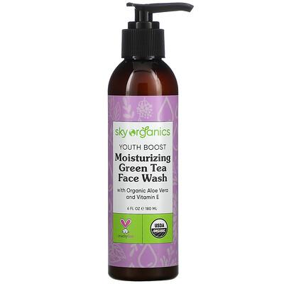 Купить Sky Organics Youth Boost, Moisturizing Green Tea Face Wash, 6 fl oz (180 ml)