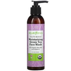 Sky Organics, Youth Boost,保溼綠茶洗面奶,含有機蘆薈和維生素 E,6 液量盎司(180 毫升)